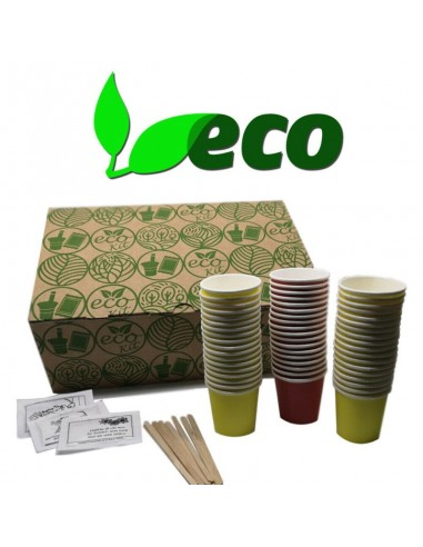 Compatibili Kit Bio Caffè 150 Bicchieri-Palette-Zucchero